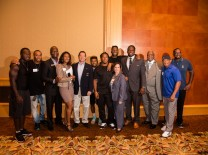"Kelbert Fleming, Diplomat Resort & Spa; Kristen Campbell, 40 Sports & Entertainment Group; Comm. Howard Weinberg, ALG; Aventura Mayor Enid Weisman; Dr. Wilbert ""Tee"" Holloway, MDCPS Board; Floyd Raglin, Floyd Sports & Marketing and Luther Campbell with NFL players"