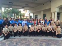 Wounded Warriors Soldier Ride participants; Gary Pyott, AMC Chairman, FirstService Residential; Aventura Mayor Enid Weisman; Residence Inn team;  Adam Faine, Soldier Ride; Ben Launerts, Launerts Hospitality Group; Capt. Jacklyn Gallagher and Dr. Michael Krop Senior High ROTC students