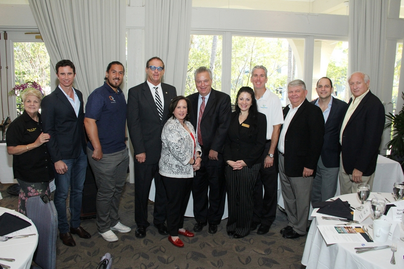 North Miami Beach Comm. Phyllis Smith; Gustavo Oribe and Guillermo Canas, Canas Tennis; Scott Bester, Williams Island; Aventura Mayor Enid Weisman; Steve Matlaga and Stephanie D Thomas, Williams Island; Ivan Baron, Delray Beach Open; Gary Pyott, AMC Chairman, FirstService Residential; Maurice Ruah, Former #1 Venezuelan tennis pro; Aventura Comm. Bob Shelley