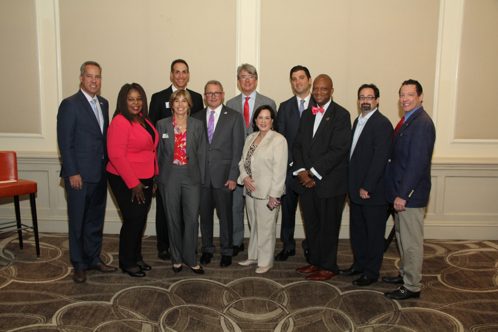 (L to R) North Miami Beach Mayor George Vallejo; FL Sen. Daphne Campbell; Tim O'Keefe and Sandra Bennett, KW Property Management & Consulting; Carl Lender, Hotwire Communications; Sunny Isles Beach Mayor Bud Scholl; Aventura Mayor Enid Weisman; Bal Harbour Village Mayor Gabriel Groisman; Miami Gardens Mayor Oliver Gilbert III; Bay Harbor Islands Mayor Jordan Leonard; Aventura Comm. Howard Weinberg, Hotwire Communications