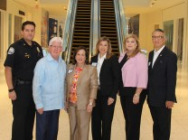 Aventura Police Major Michael Bentolila; Bill Talbert, CEO, Greater Miami Convention & Visitors Bureau; Aventura Mayor Enid Weisman and City Manager Susan Grant; Anabel Llopis, Aventura Mall; North Bay Village Vice Mayor Eddie Lim